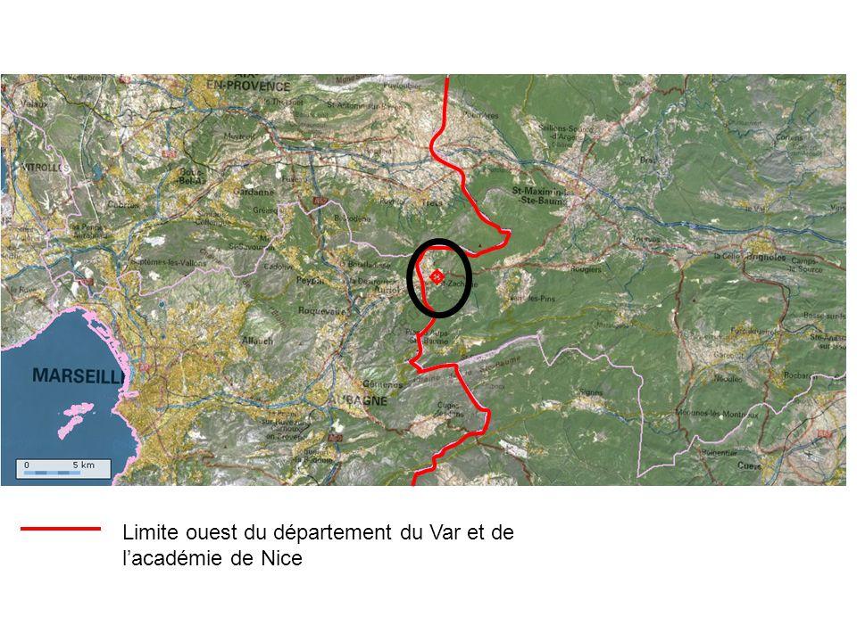 Limite ouest du département du Var et de l'académie de Nice