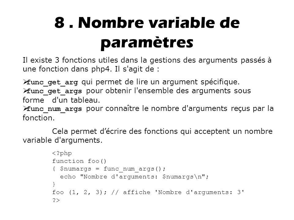 8 . Nombre variable de paramètres