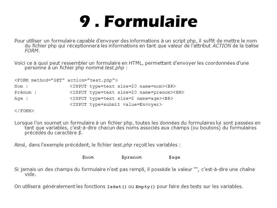 9 . Formulaire