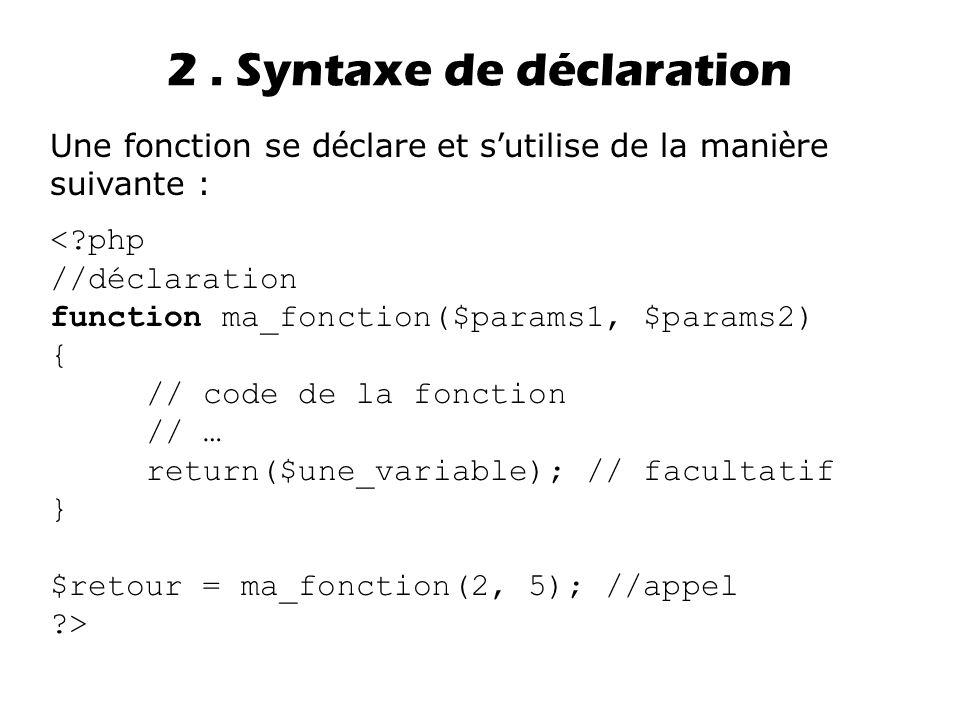 2 . Syntaxe de déclaration