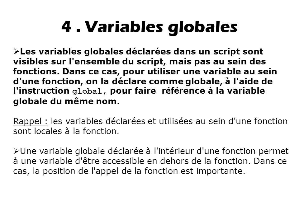 4 . Variables globales
