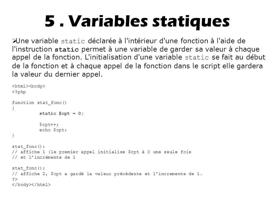 5 . Variables statiques