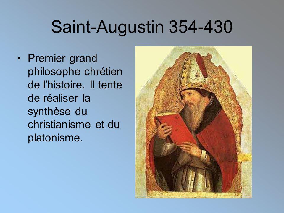 Saint-Augustin 354-430 Premier grand philosophe chrétien de l histoire.