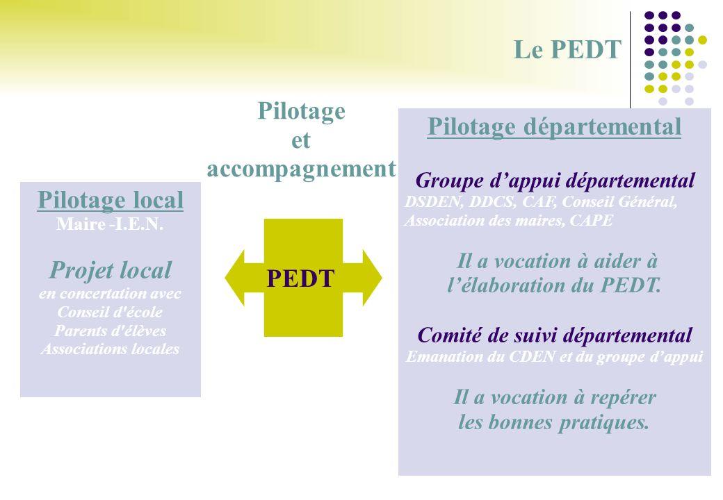 Le PEDT Pilotage et accompagnement Pilotage départemental