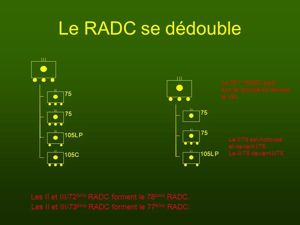 Le RADC se dédouble Les II et III/72ème RADC forment le 78ème RADC.