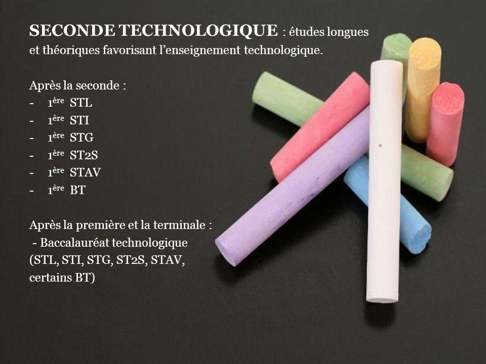 SECONDE TECHNOLOGIQUE : études longues