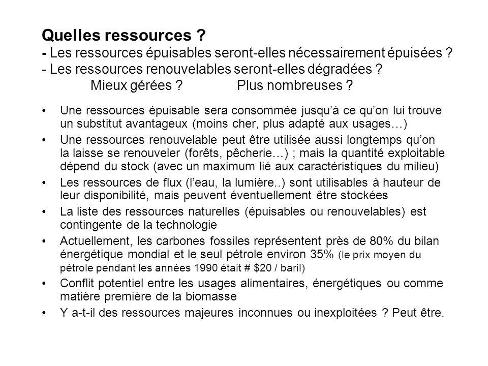 Quelles ressources - Les ressources épuisables seront-elles nécessairement épuisées - Les ressources renouvelables seront-elles dégradées Mieux gérées Plus nombreuses