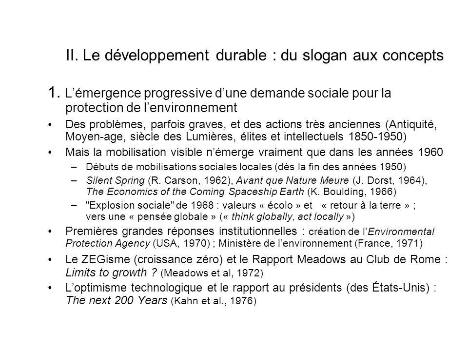 II. Le développement durable : du slogan aux concepts