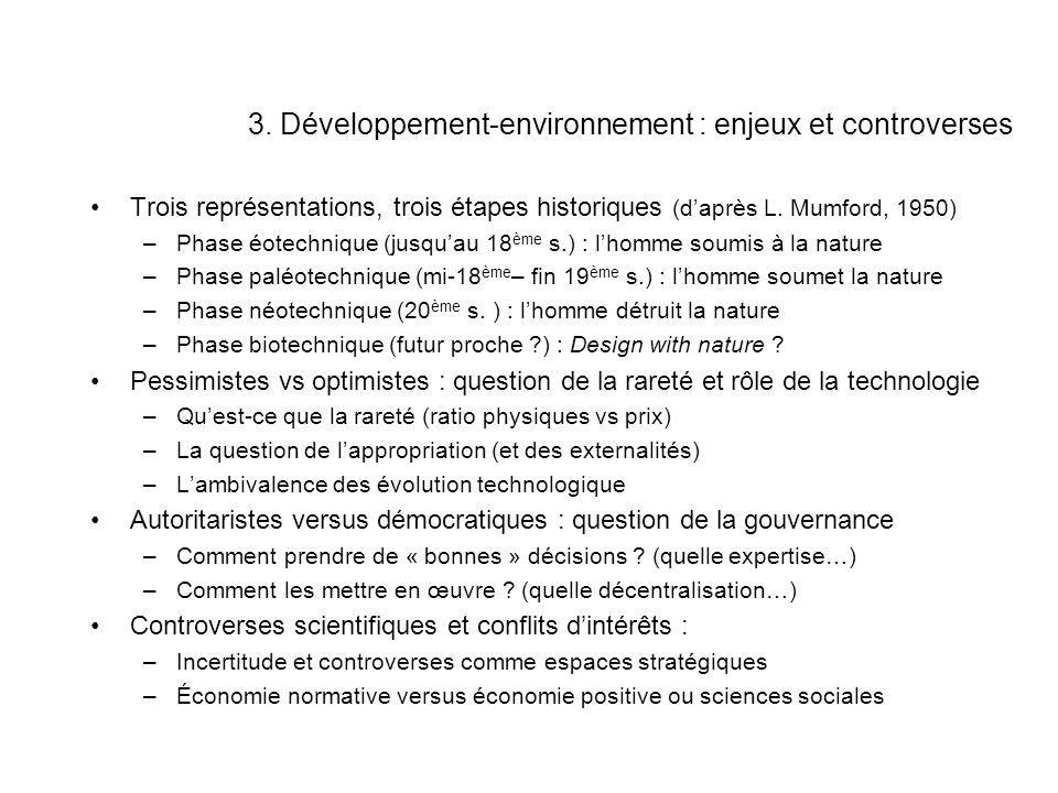3. Développement-environnement : enjeux et controverses