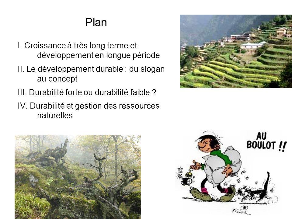 Plan I. Croissance à très long terme et développement en longue période. II. Le développement durable : du slogan au concept.