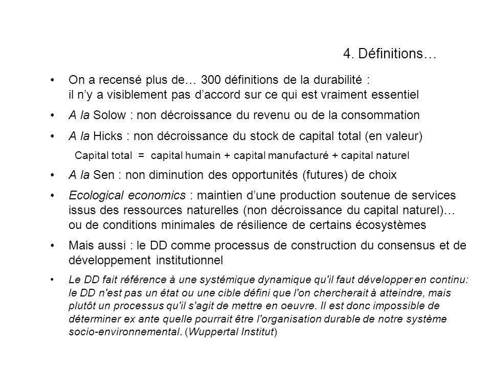 4. Définitions… On a recensé plus de… 300 définitions de la durabilité : il n'y a visiblement pas d'accord sur ce qui est vraiment essentiel.