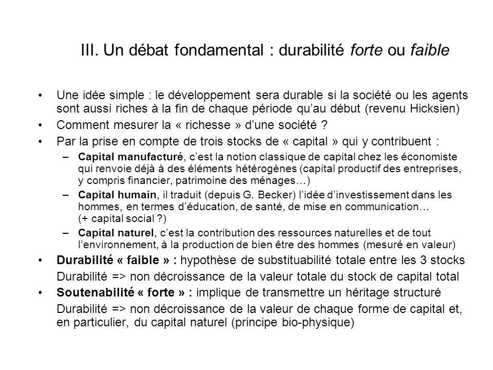 III. Un débat fondamental : durabilité forte ou faible