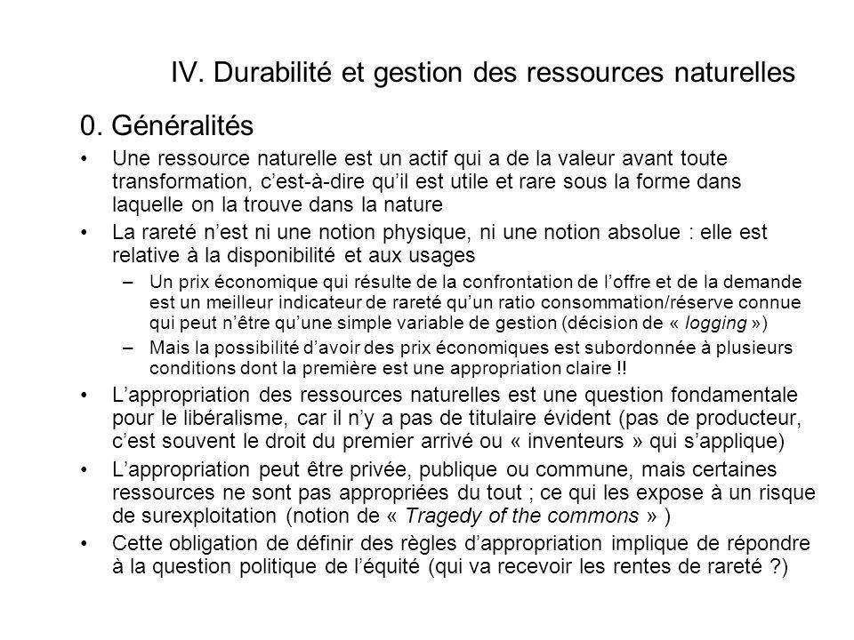 IV. Durabilité et gestion des ressources naturelles