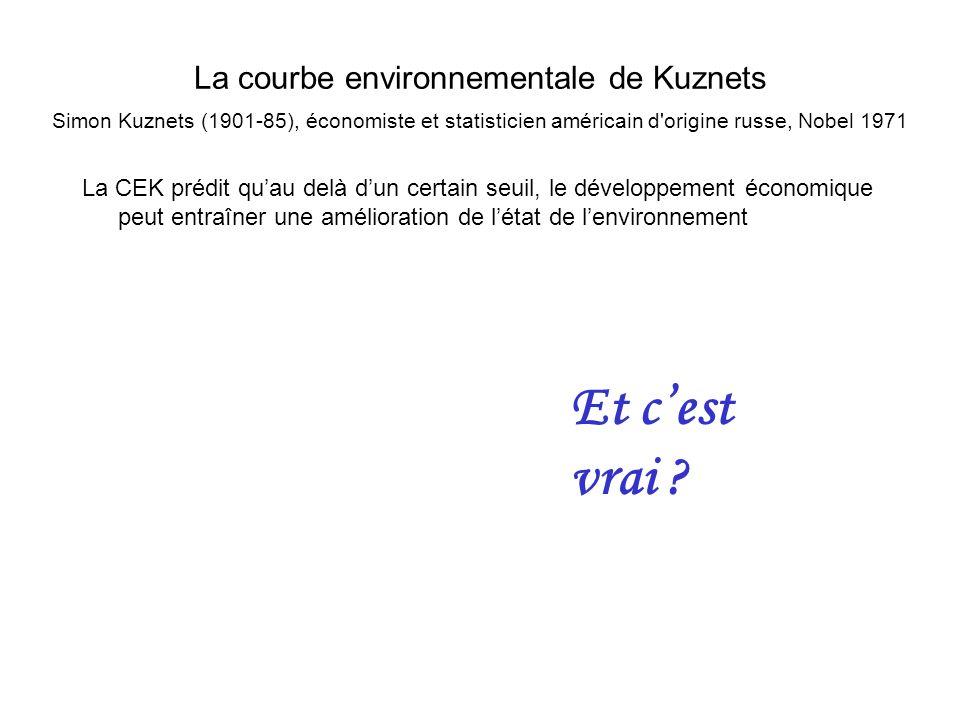 La courbe environnementale de Kuznets Simon Kuznets (1901-85), économiste et statisticien américain d origine russe, Nobel 1971