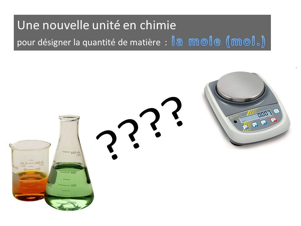 Une nouvelle unité en chimie pour désigner la quantité de matière : la mole (mol.)