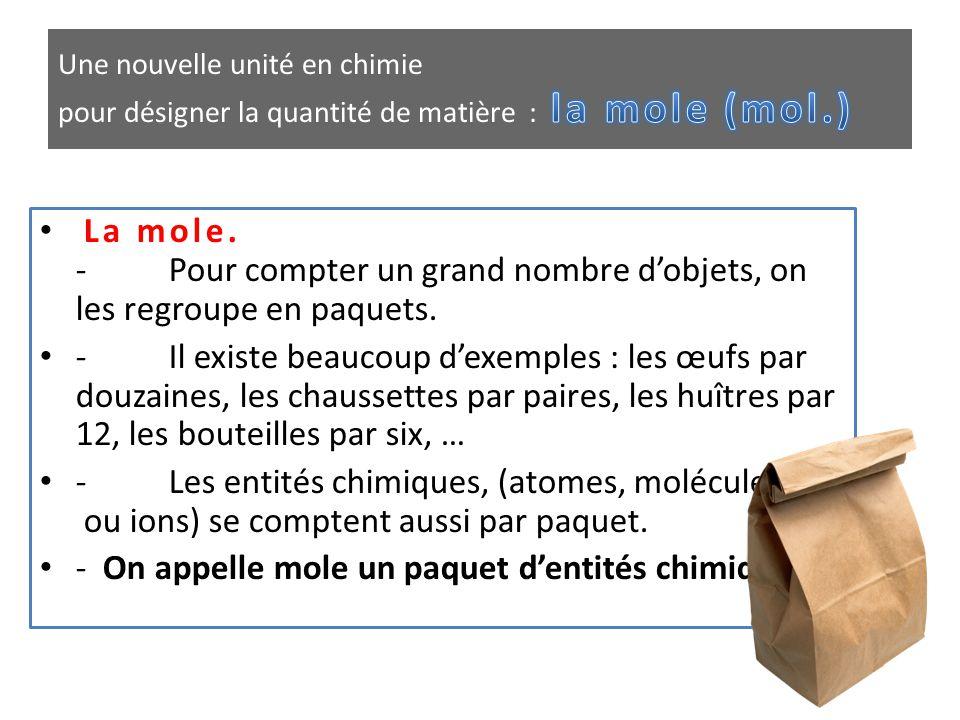 - On appelle mole un paquet d'entités chimiques.