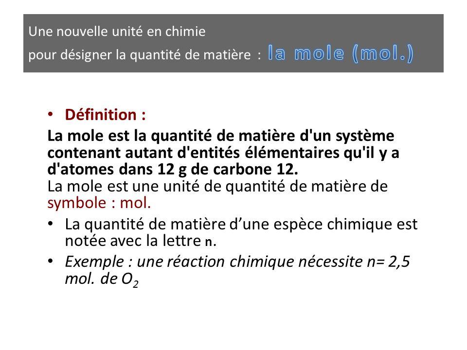 Exemple : une réaction chimique nécessite n= 2,5 mol. de O2