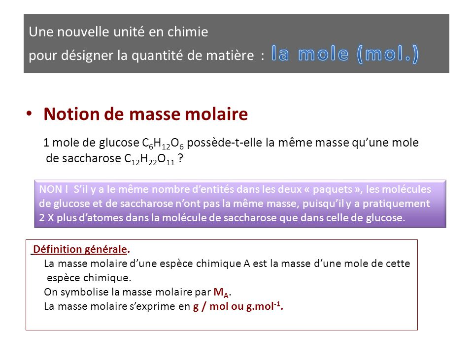 Notion de masse molaire