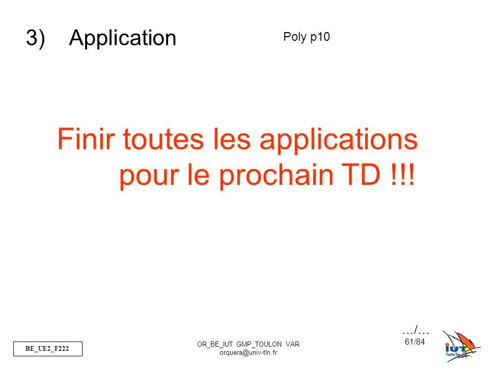 Finir toutes les applications pour le prochain TD !!!