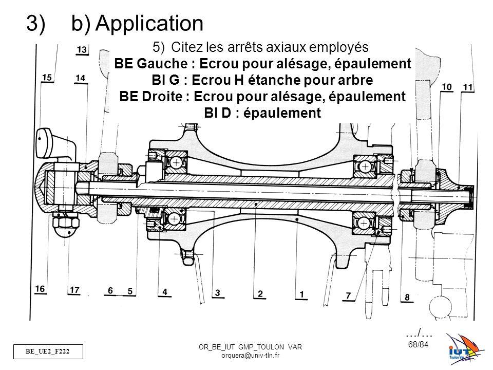 b) Application Citez les arrêts axiaux employés