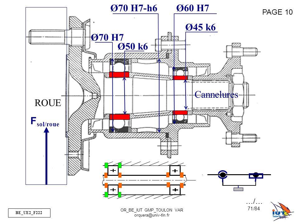 Ø70 H7-h6 Ø60 H7 Ø45 k6 Ø70 H7 Ø50 k6 Cannelures ROUE Fsol/roue