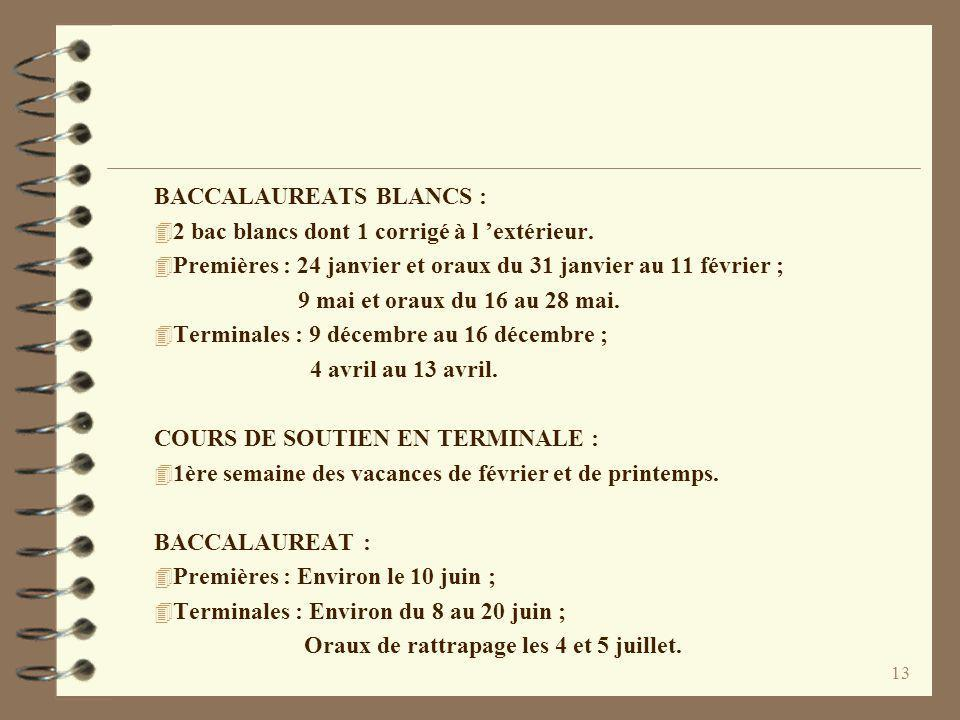 BACCALAUREATS BLANCS :