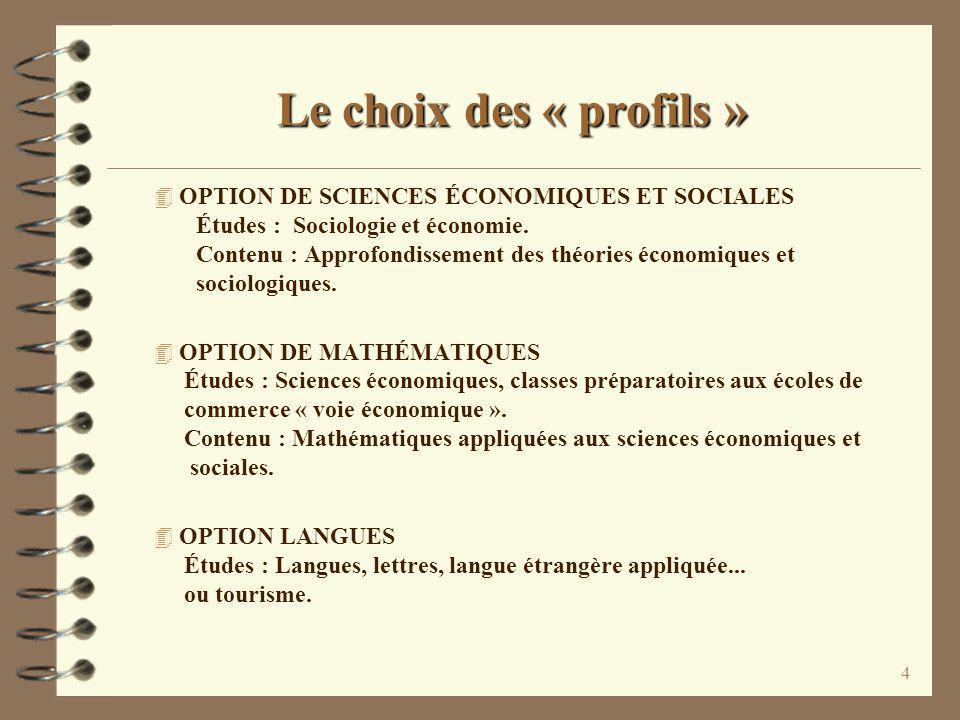Le choix des « profils »