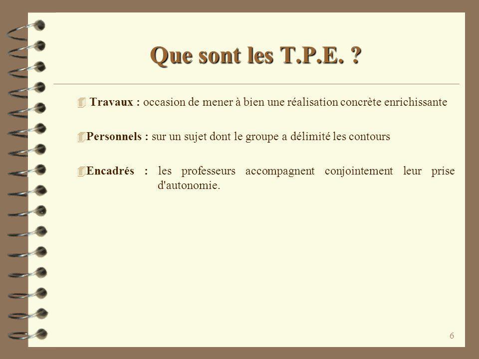 Que sont les T.P.E. Travaux : occasion de mener à bien une réalisation concrète enrichissante.