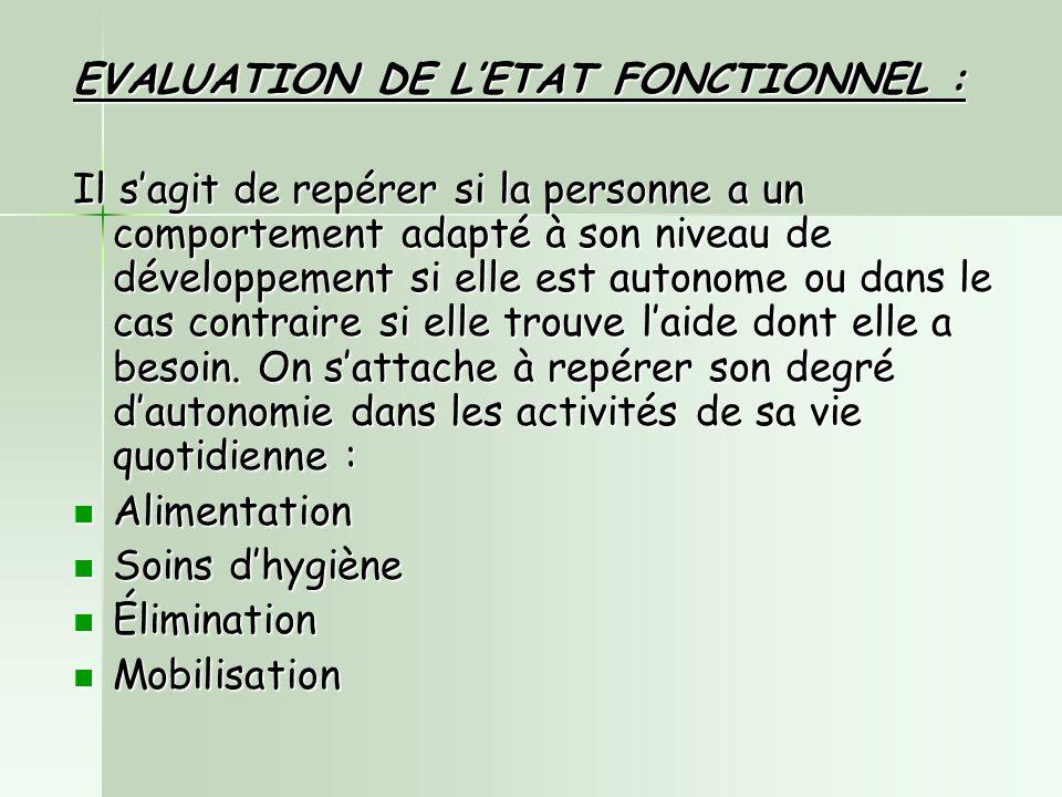 EVALUATION DE L'ETAT FONCTIONNEL :