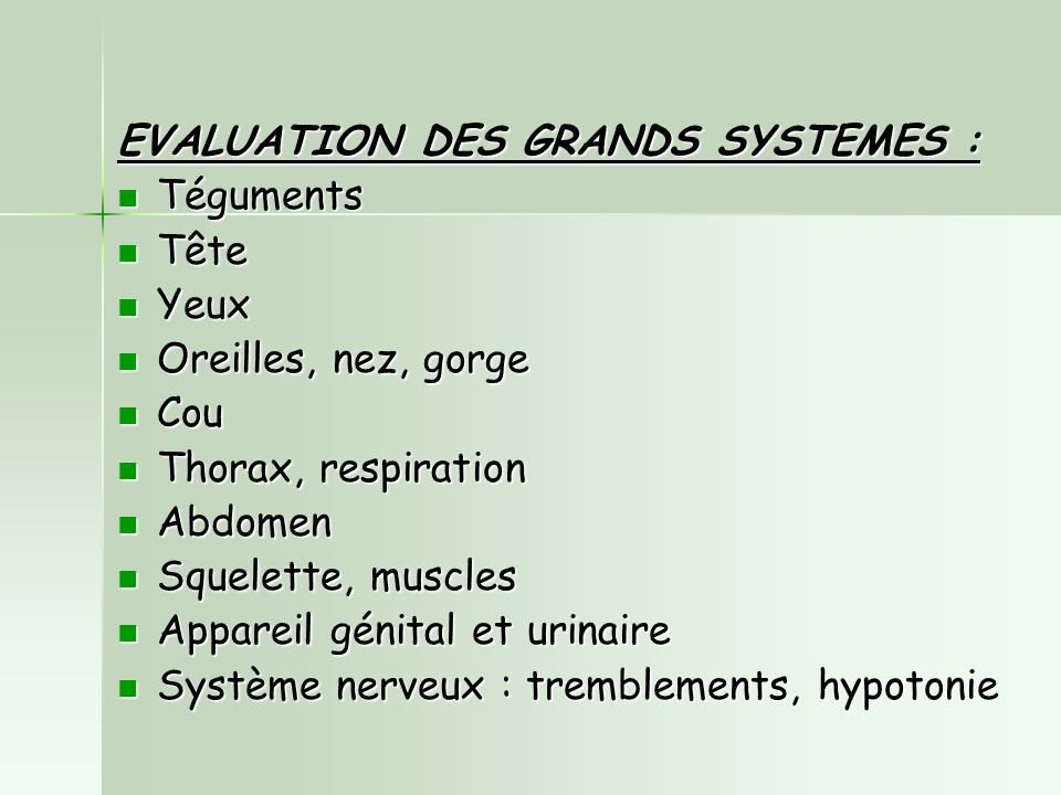 EVALUATION DES GRANDS SYSTEMES :