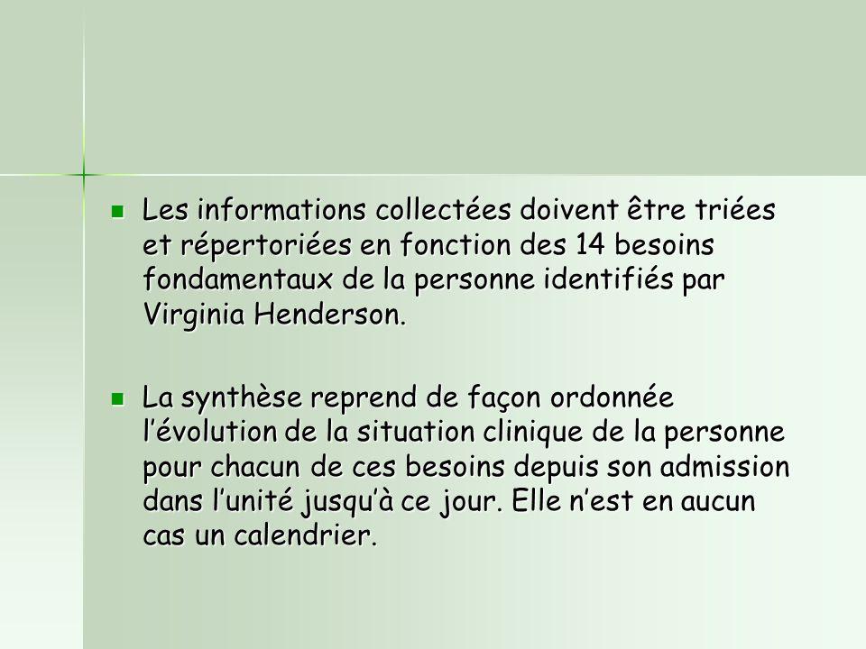 Les informations collectées doivent être triées et répertoriées en fonction des 14 besoins fondamentaux de la personne identifiés par Virginia Henderson.
