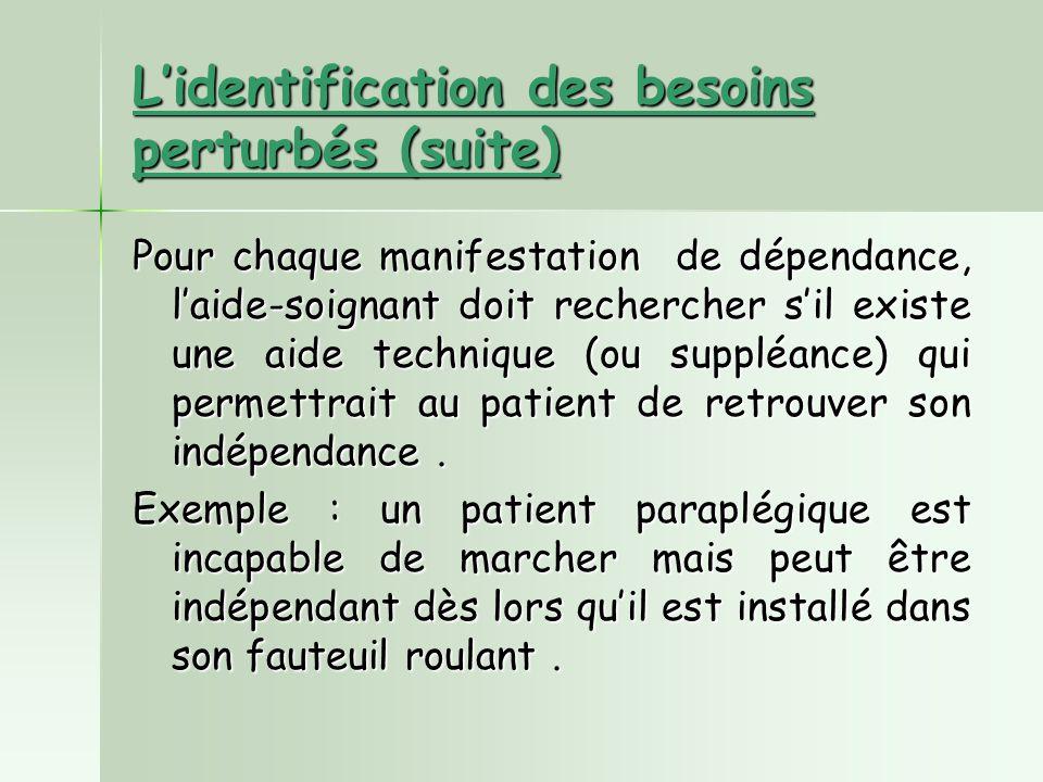 L'identification des besoins perturbés (suite)