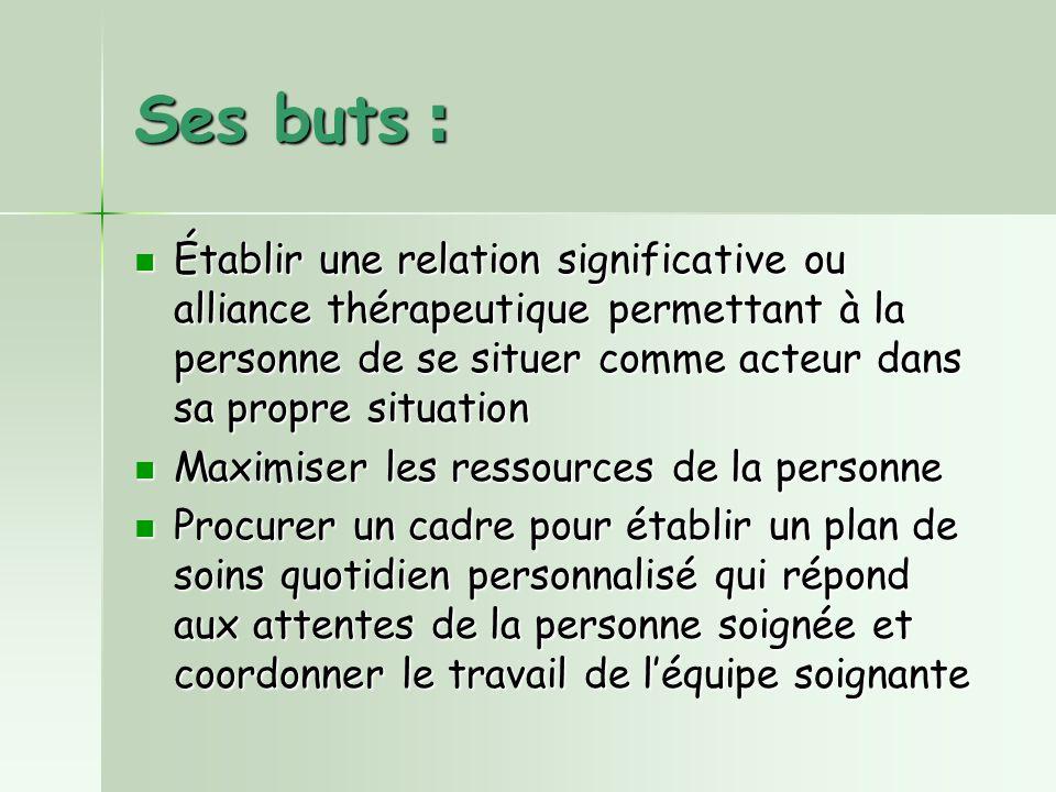 Ses buts : Établir une relation significative ou alliance thérapeutique permettant à la personne de se situer comme acteur dans sa propre situation.