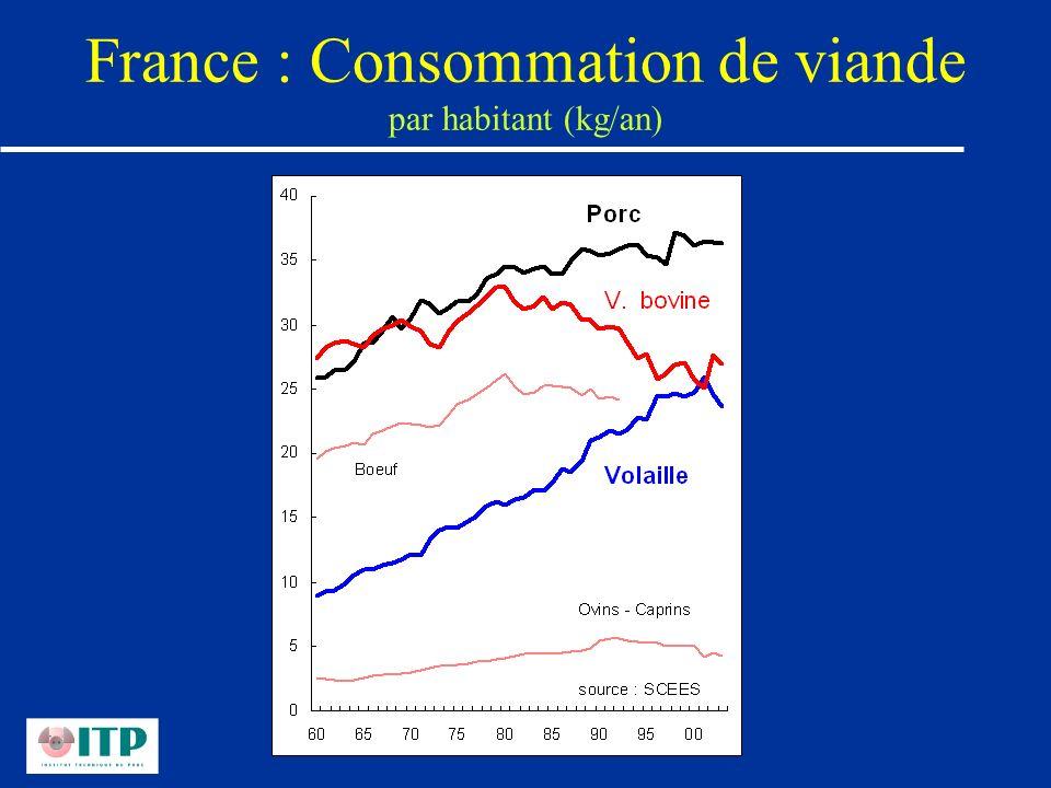 France : Consommation de viande par habitant (kg/an)