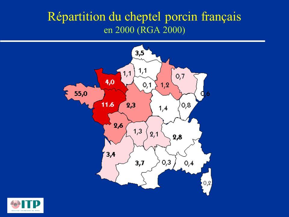 Répartition du cheptel porcin français en 2000 (RGA 2000)