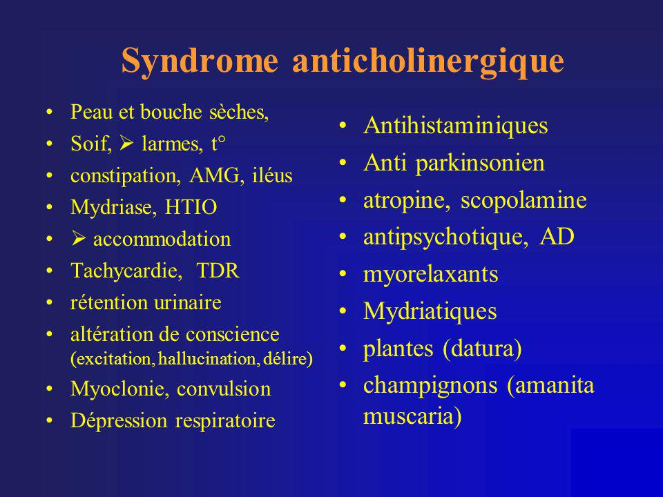 Syndrome anticholinergique