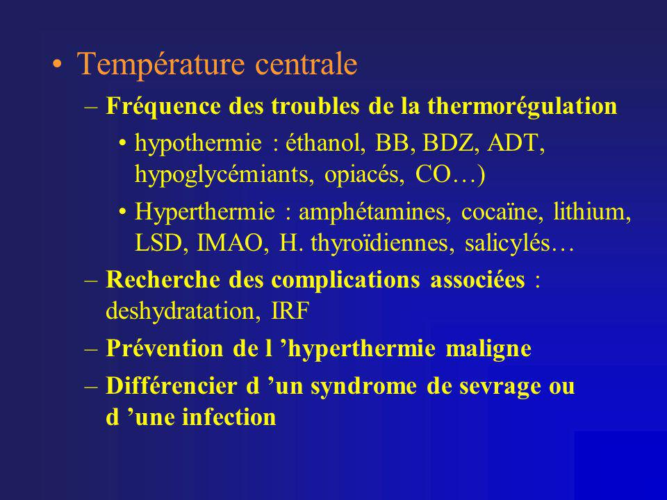 Température centrale Fréquence des troubles de la thermorégulation