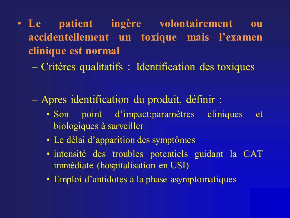 Critères qualitatifs : Identification des toxiques