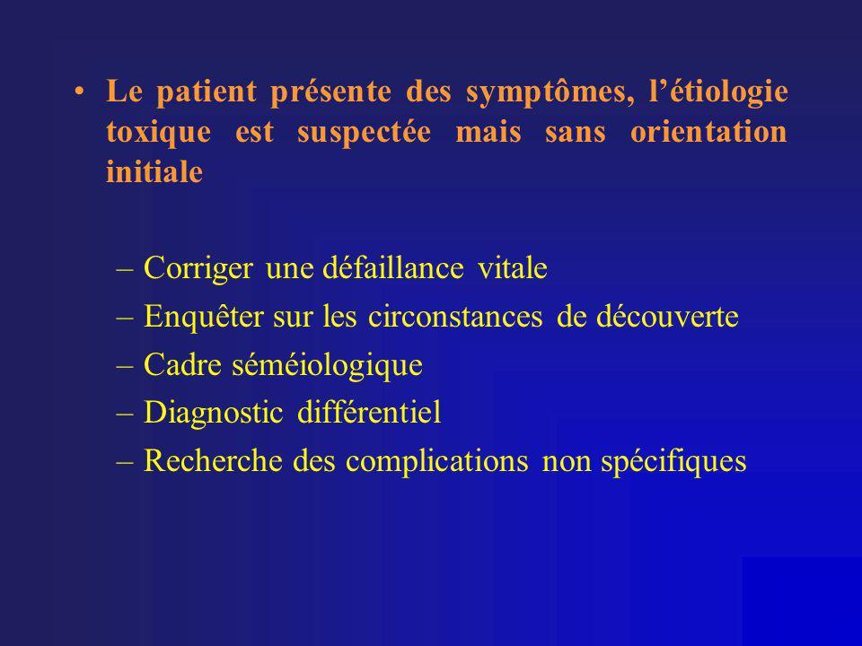 Le patient présente des symptômes, l'étiologie toxique est suspectée mais sans orientation initiale
