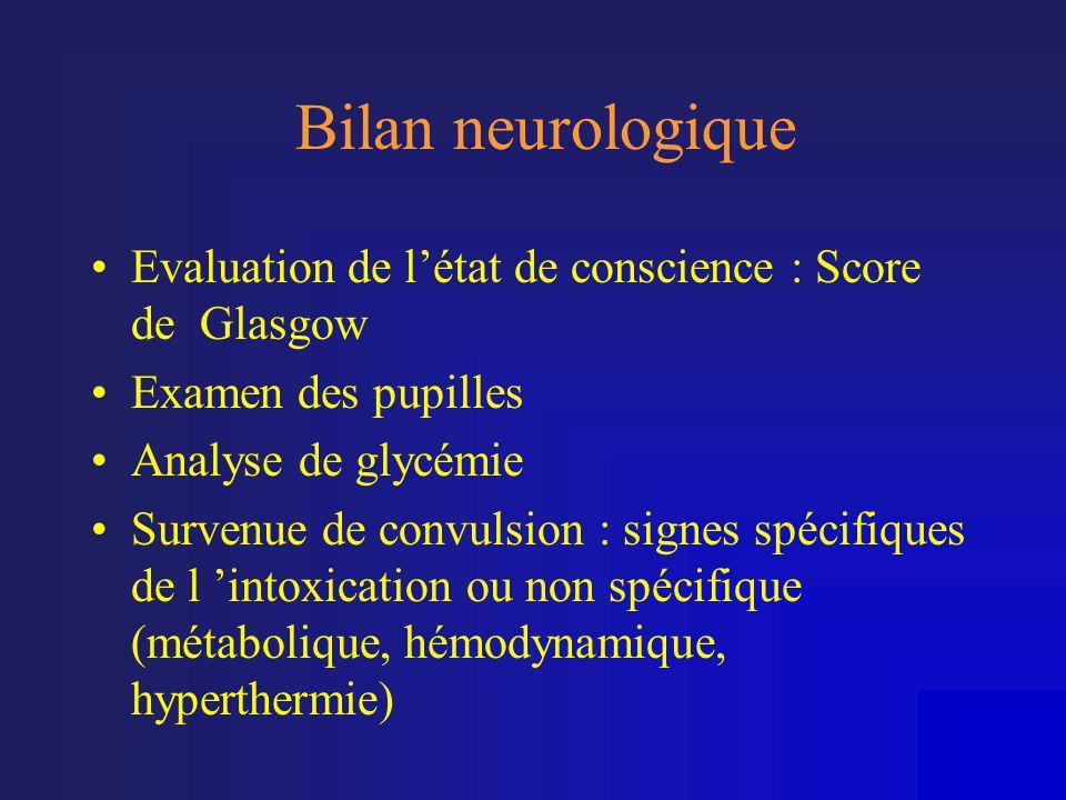 Bilan neurologique Evaluation de l'état de conscience : Score de Glasgow. Examen des pupilles. Analyse de glycémie.