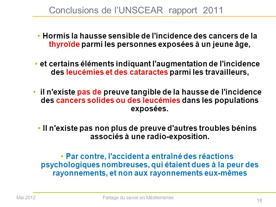 Conclusions de l'UNSCEAR rapport 2011
