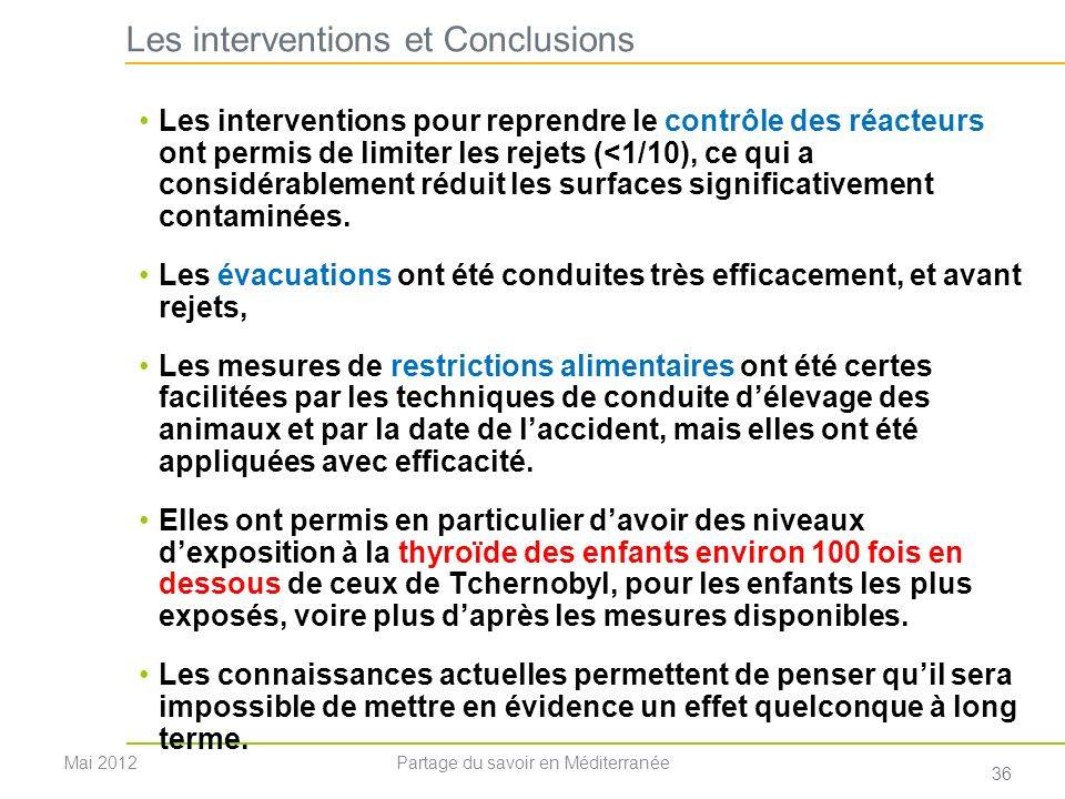 Les interventions et Conclusions
