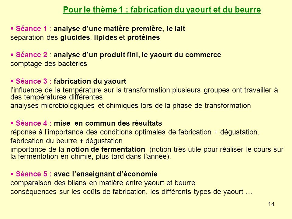 Pour le thème 1 : fabrication du yaourt et du beurre
