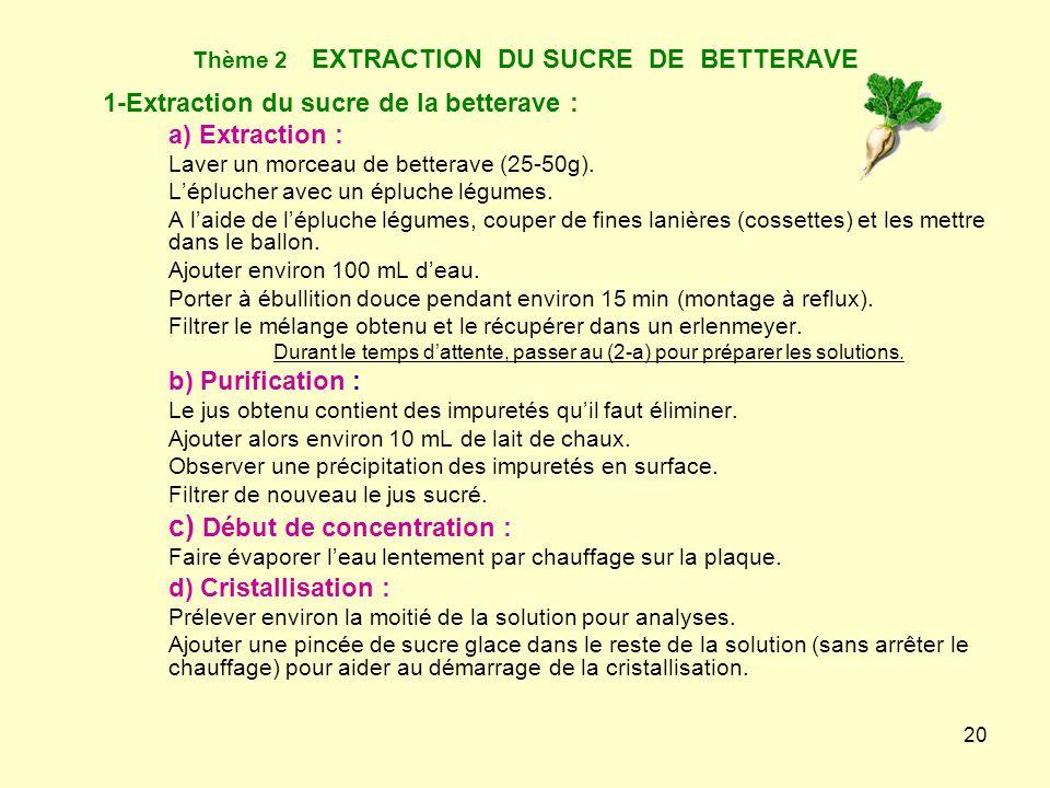 Thème 2 EXTRACTION DU SUCRE DE BETTERAVE