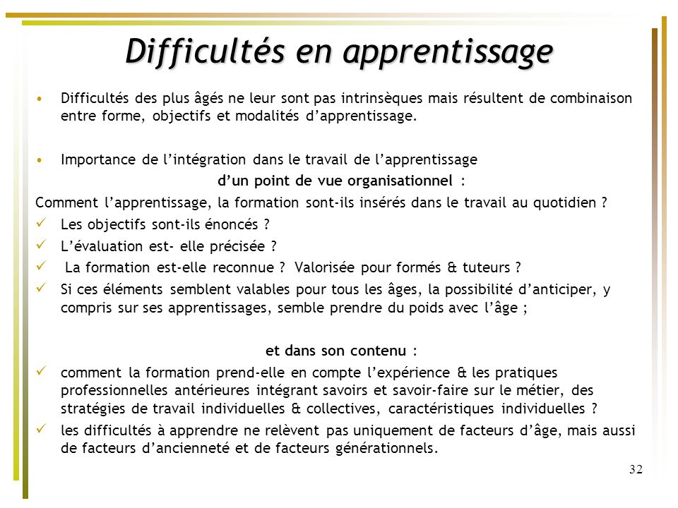 Difficultés en apprentissage