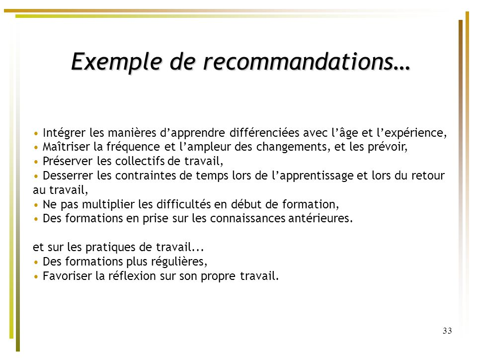 Exemple de recommandations…