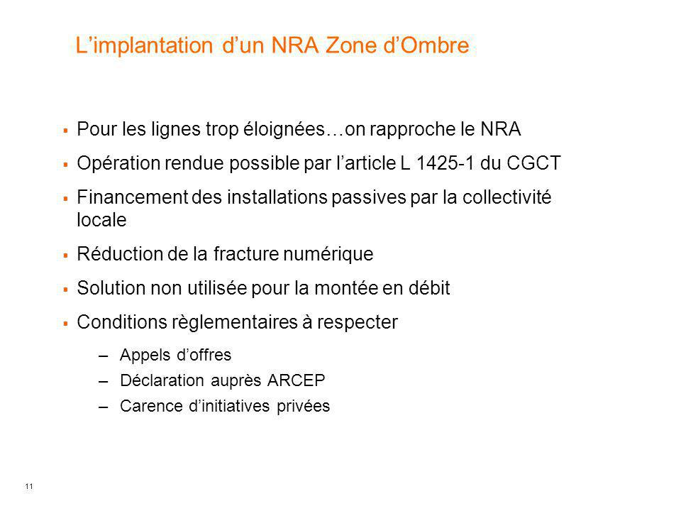 L'implantation d'un NRA Zone d'Ombre