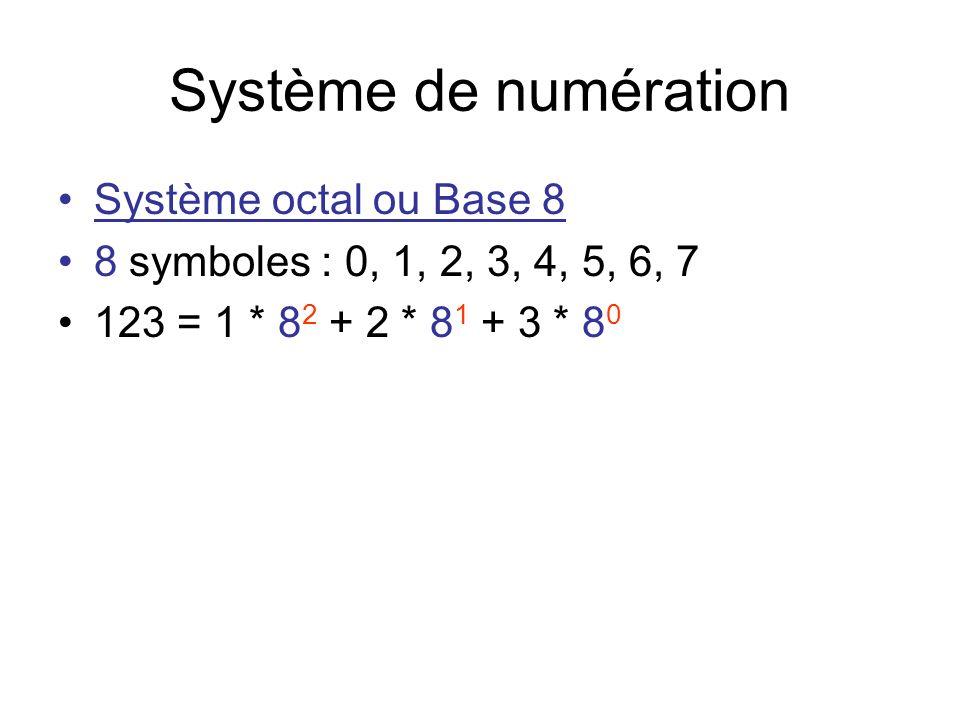 Système de numération Système octal ou Base 8