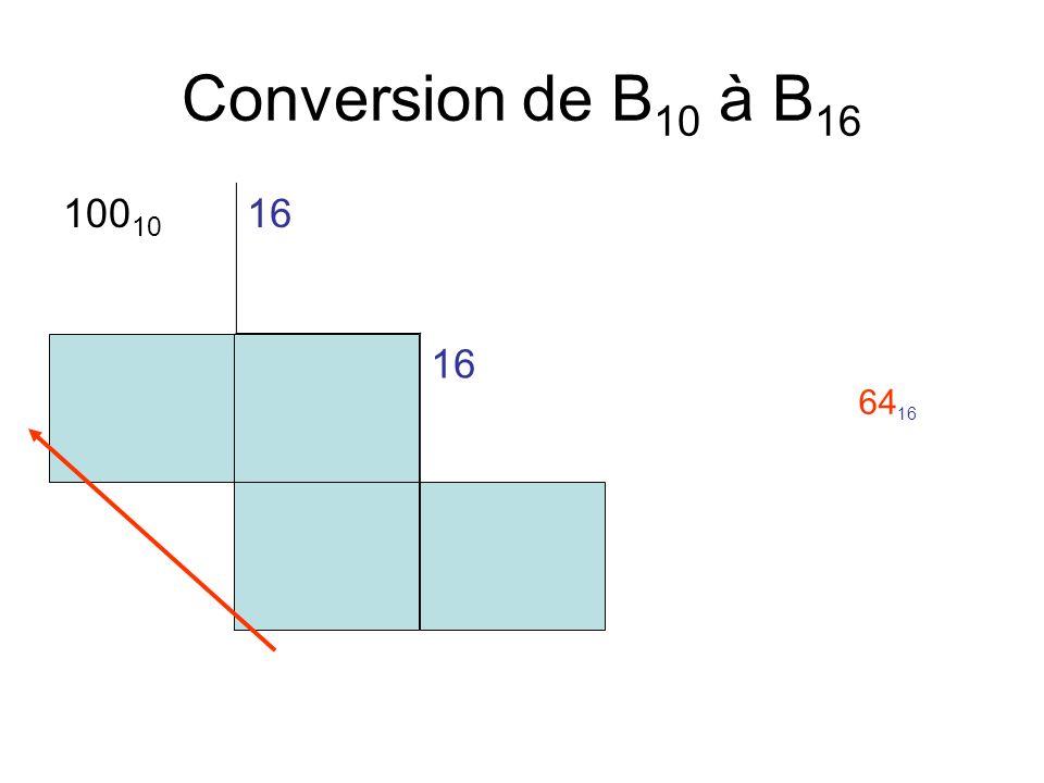 Conversion de B10 à B16 10010 16 4 6 6416