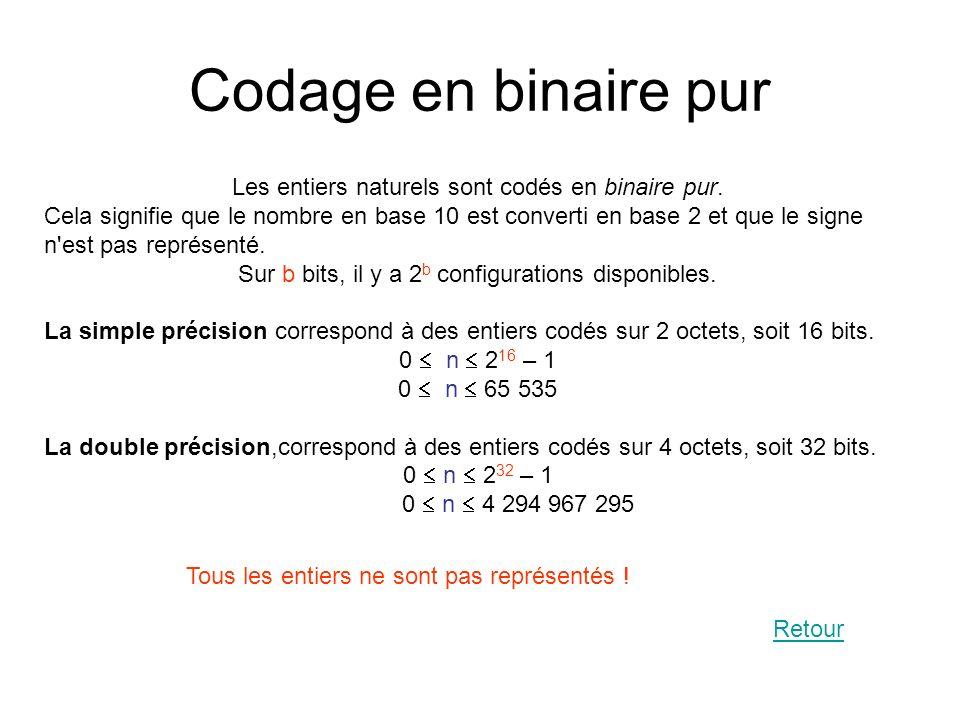 Codage en binaire pur Les entiers naturels sont codés en binaire pur.